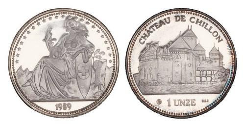 1989年瑞士发行1欧元加厚型9.99银章