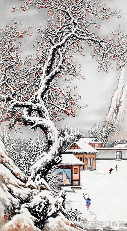 「首饰图片」雪景大王 余文襄的瓷画作品有什么特色