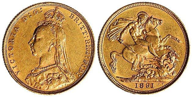 1891年英国维多利亚女皇骑马金币