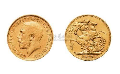1913年英国国王像乔治屠龙2角金币