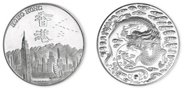 1992年团龙纪念银章。直径33mm,成色99.9%。