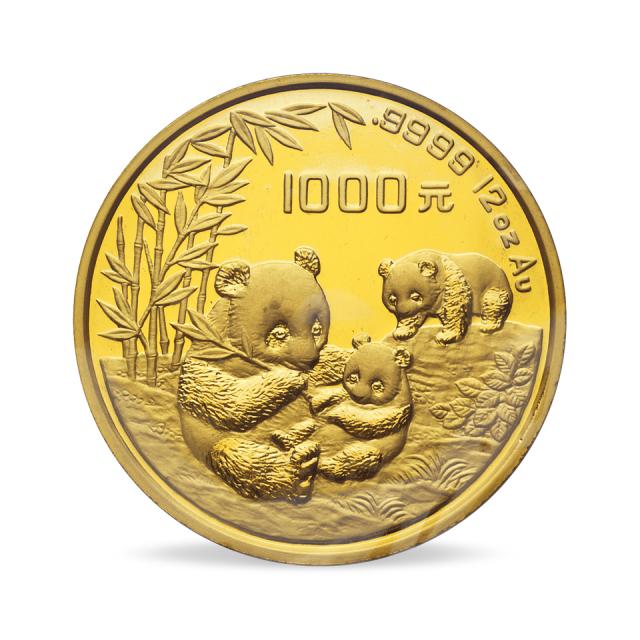 1995年12盎司熊猫金币一枚,带盒