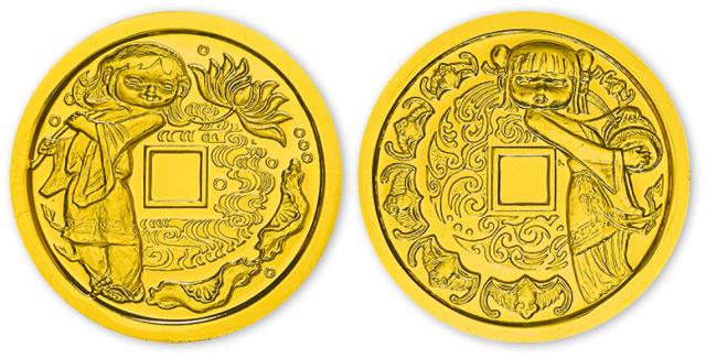 1983年和合二仙纪念铜镀金章一套二枚,带盒、附证书。均为直径33mm。上海造币厂造。
