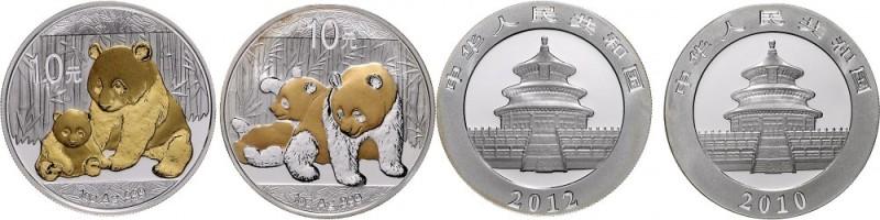 ChinaVolksrepublik seit 1949.2 X 1 Unze Panda Silber mit Goldapplikation: 2010 und 2012. In Kapseln