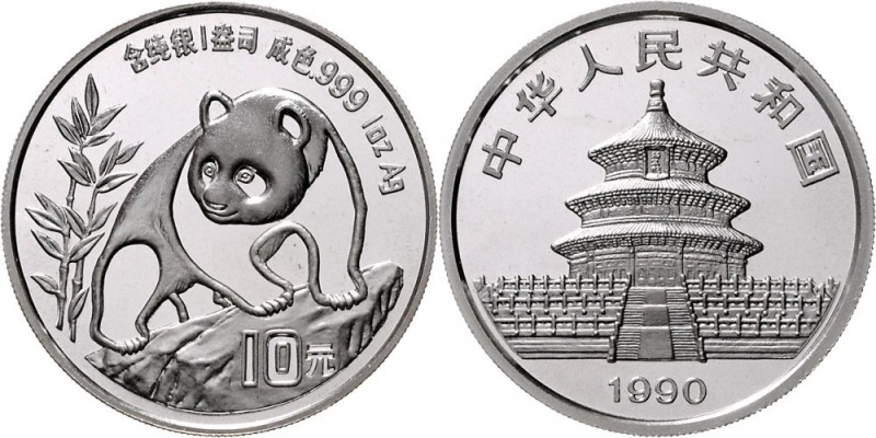 ChinaVolksrepublik seit 1949.10 Yuan Panda 1990 Panda beim Besteigen eines Felsens. KM 276, Schon 2