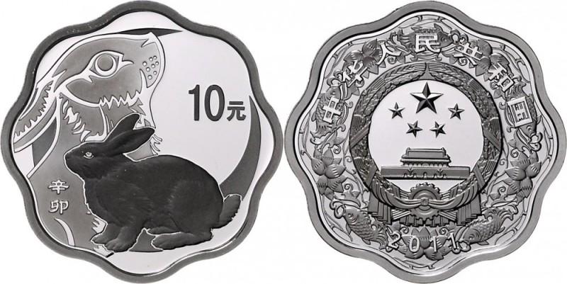 ChinaVolksrepublik seit 1949.10 Yuan Silber (Wellenschnitt achtbogig) 2011 Jahr des Hasen. 1 Unze.