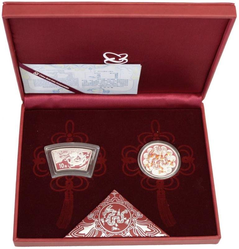 ChinaVolksrepublik seit 1949.Set mit 2 X 10 Yuan Silber (je 1 Unze) 2012 Jahr des Drachen facherfor