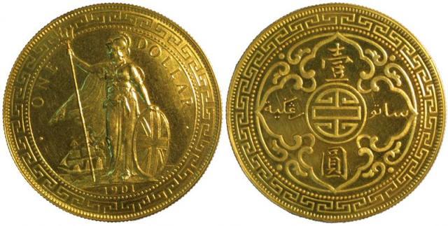 1901香港壹圆站人金币 近未流通