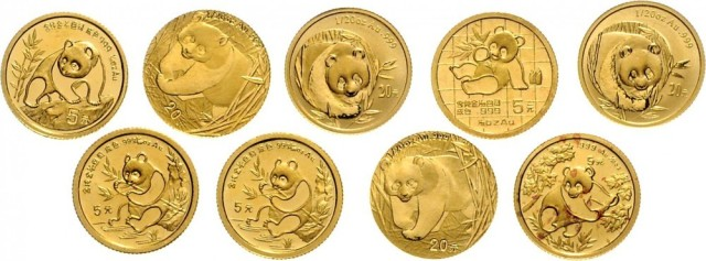 ChinaLots der Volksrepublik China ab 1949.9 X 5 Yuan Panda GOLD (1/20 Unze): 1989, 1990, 2 X 1991,