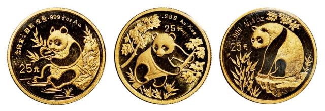 1/4金币熊猫3枚