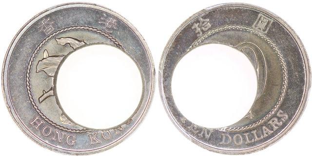 1994香港错体$10,移位错打及中心缺肉错体,PCGS MS65,前辈藏家之香港错体币