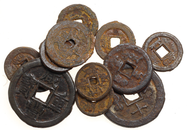 清代铁钱12枚一组 美品