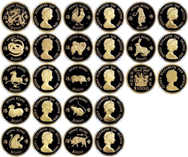 1975至87年香港一组十三枚壹仟圆金币,包括1976-87年十二生肖金币及1975年英女皇访港金币,连原包装及证书,全经NGC评分,PF68UC-70UC,评分极高