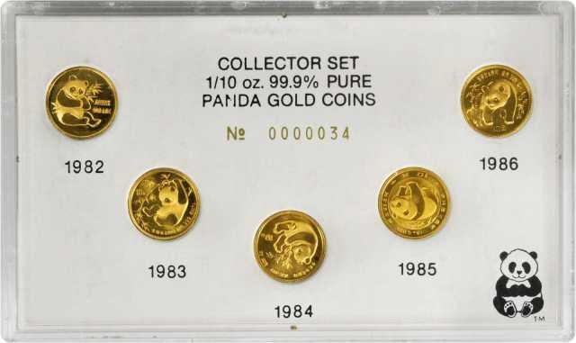 1982-86五枚1/10盎司金熊猫金币 近未流通