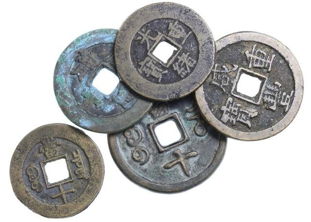清代铜钱一组5枚 上美品