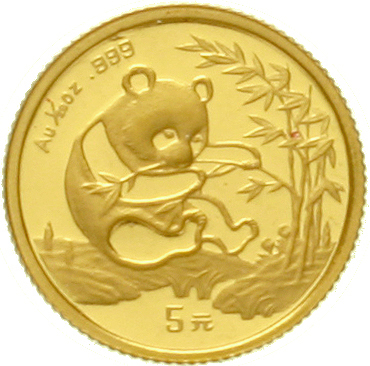 5 Yuan GOLD 1994. Sitting panda near the consumption one bambooplant. 1 / 20 oz fine gold. Large Dat