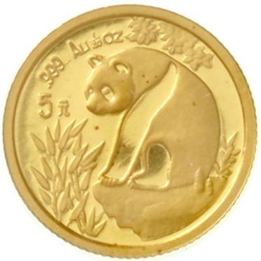 5 Yuan GOLD 1993. Panda on boulder. 1 / 20 oz fine gold. LargeDate, welds. Uncirculated, mint condit