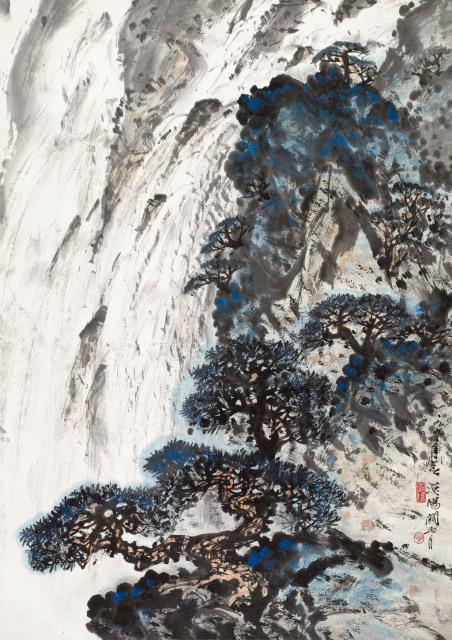 关山月 松崖飞瀑