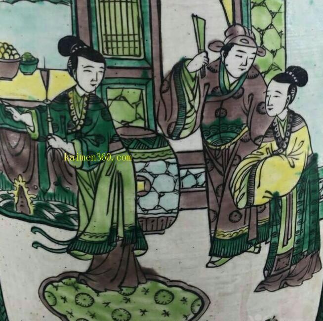 光绪绿地锦地纹开光西厢人物故事纹盘口瓶