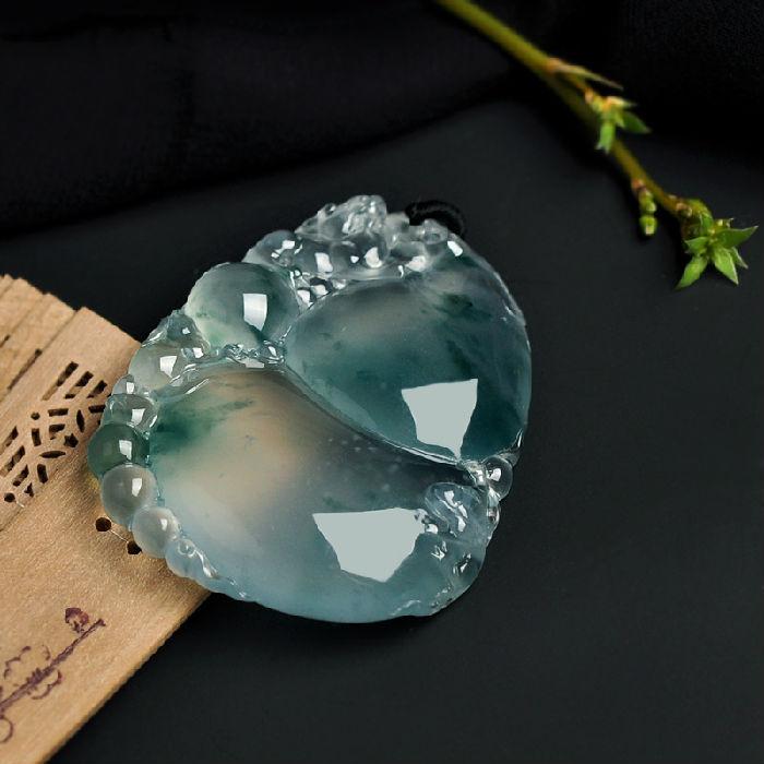 天然极品翡翠玻璃种飘花葫芦挂件