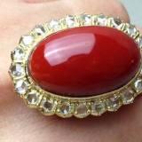 红珊瑚18K金镶钻戒指