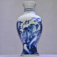 清中期康熙海水瑞兽图青花观音瓶