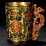 金质烧蓝镂空缠枝莲纹龙首闻香杯