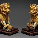 民国时期银鎏金累丝雄狮母狮一对