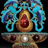 金质累丝点翠嵌珍珠碧玺红蓝宝石花篮形面簪