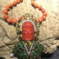 18k祖母绿珍珠钻石红珊瑚观音项链