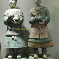 宋素三彩金童玉女瓷像