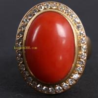 高密度MOMO红珊瑚戒指嵌钻石