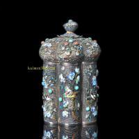 清朝时期 银烧蓝花丝嵌珊瑚松石茶叶罐
