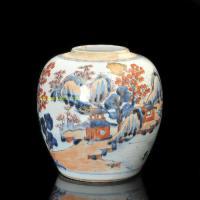 清代康熙 青花矾红描金通景山水纹大罐