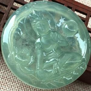 冰种晴绿翡翠观音挂件交易价格