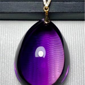 天然紫晶水滴吊坠交易价格