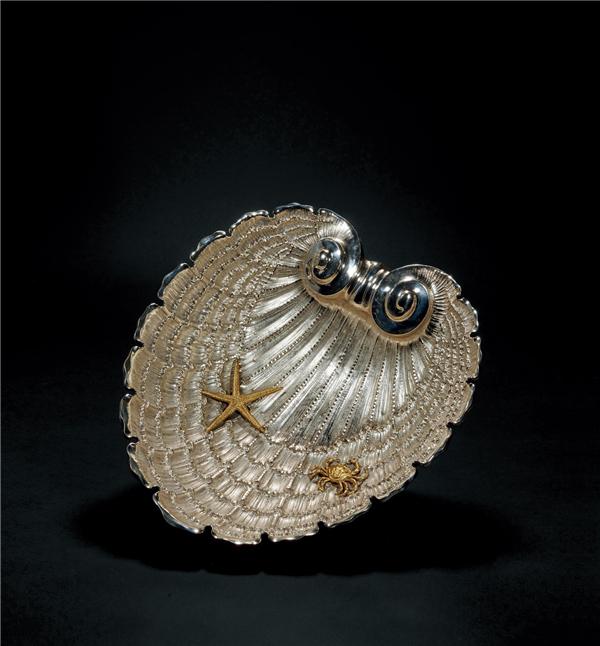 银质贝壳形赏盘
