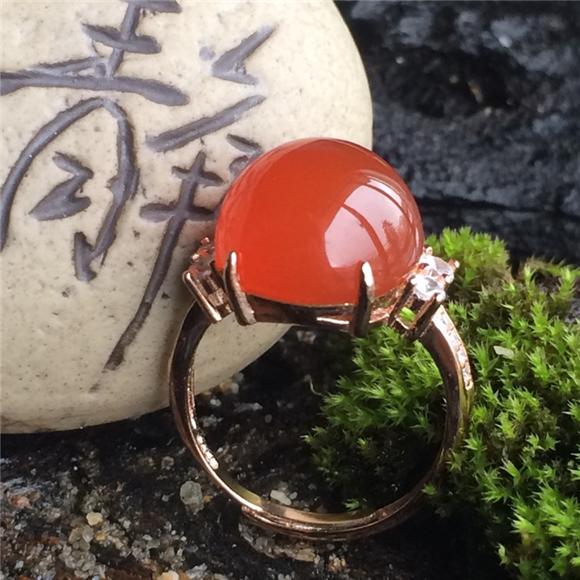保山冰红玛瑙戒指
