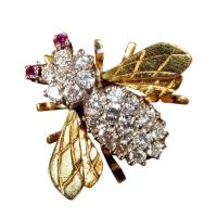 美国蜜蜂型镶钻金胸针