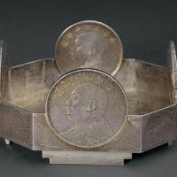 民国时期镶银币八角型银盘