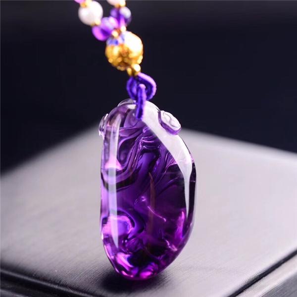 天然巴西紫水晶财神吊坠