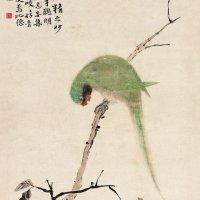 清 华嵒《鹦鹉图》