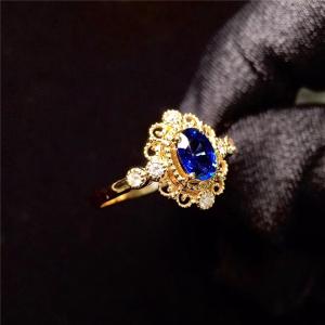 18K金镶蓝宝石戒指交易价格