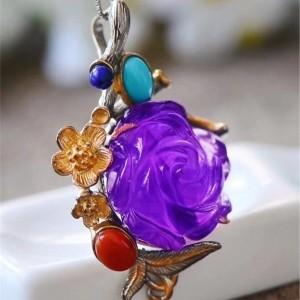 纯天然巴西紫晶玫瑰花吊坠交易价格
