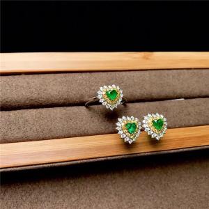 18K金祖母绿戒指加耳环交易价格