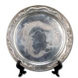 早期圆形刻花龙纹银盘