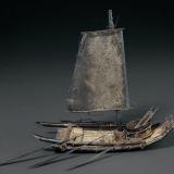 民国时期台湾银质竹筏帆船摆饰