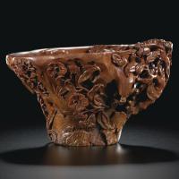 清18世纪初犀角雕鸟语花香图杯