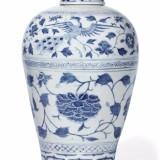 元青花孔雀牡丹带盖梅瓶