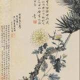 何香凝1944年作《劲松寒菊图》镜心
